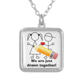 Stick Figure Couple With Heart Drawn Together Silver Plated Necklace