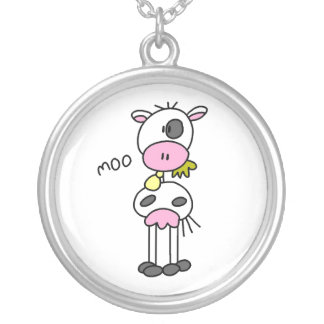 Stick Figure Cow Necklace