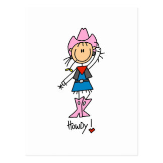 Stick Figure Cowgirl T-shirts and Gifts Postcard