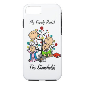 Stick Figure Dad, Mom, Two Girls, Cat iPhone 7 iPhone 7 Case