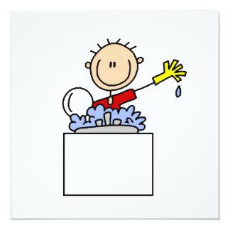 "Stick Figure Doing Dishes 5.25"" Square Invitation Card"