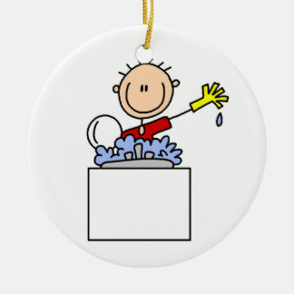 Stick Figure Doing Dishes Ceramic Ornament
