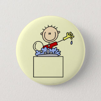 Stick Figure Doing Dishes Tshirts and Gifts 2 Inch Round Button