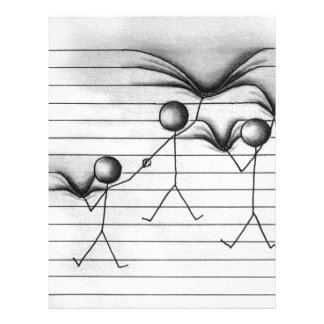 Stick Figure Drawing of Hanging on Lines Letterhead