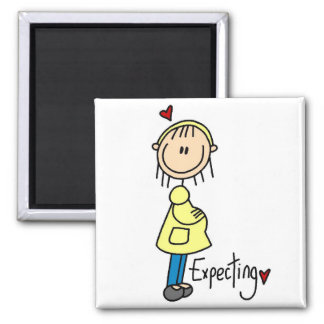 Stick Figure Expecting Baby Square Magnet