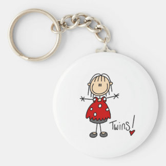 Stick Figure Expecting Twins Basic Round Button Keychain