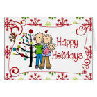 Stick Figure Family Baby Girl Christmas Holiday Card