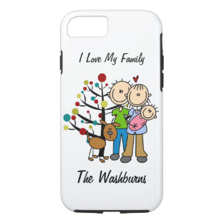 Stick Figure Family Baby Girl With Dog iPhone 7 iPhone 7 Case