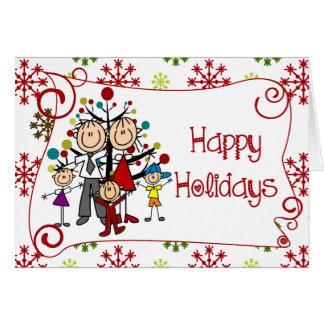 Stick Figure Family Christmas Holiday Card