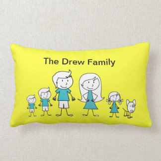 Stick Figure Family Pillow