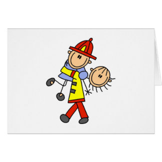 Stick Figure Firefighter Saving Lives Cards