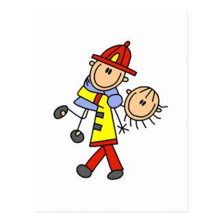 Stick Figure Firefighter Saving Lives Postcard
