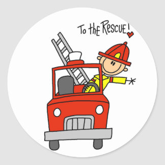 Stick Figure Firefighter to the Rescue Round Sticker