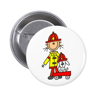 Stick Figure Firefighter with Dalmation Button