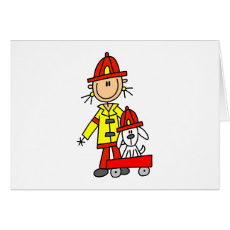 Stick Figure Firefighter with Dalmation Cards