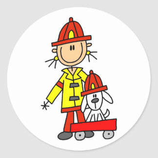 Stick Figure Firefighter with Dalmation Classic Round Sticker