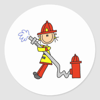 Stick Figure Firefighter with Hose Stickers
