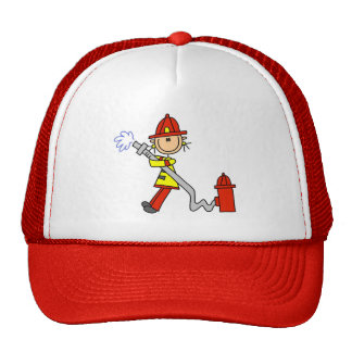 Stick Figure Firefighter with Hose Trucker Hat
