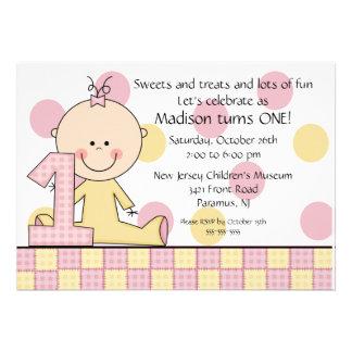 Stick figure Girl 1st  Birthday Invitation