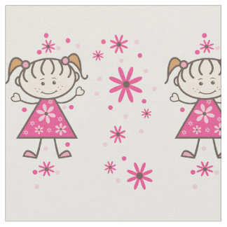 Stick Figure Girl and Flowers Fabric