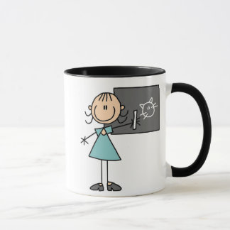 Stick Figure Girl at Chalk Board Mug