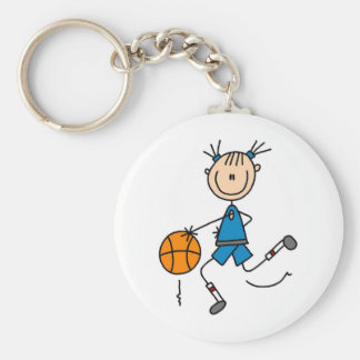 Stick Figure Girl Basketball Player Tshirts Basic Round Button Keychain