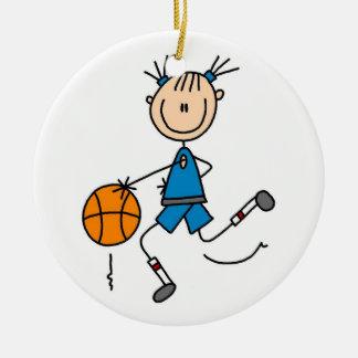 Stick Figure Girl Basketball Player Tshirts Ceramic Ornament