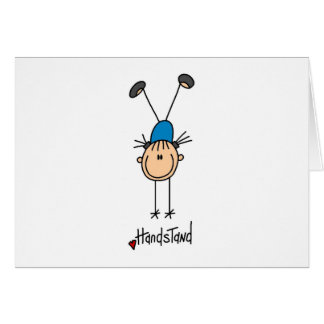 Stick Figure Girl Doing Handstands Note Card