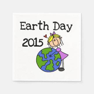 Stick Figure Girl Earth Day 2015 Paper Napkin