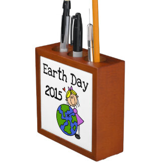 Stick Figure Girl Earth Day 2015 Pencil Holder