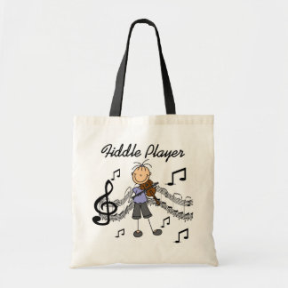 Stick Figure Girl Fiddle Player Tshirts and Gifts Budget Tote Bag