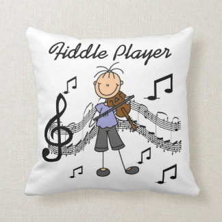 Stick Figure Girl Fiddle Player Tshirts and Gifts Throw Pillow