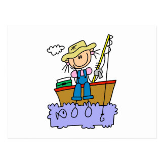 Stick Figure Girl Fishing Postcards