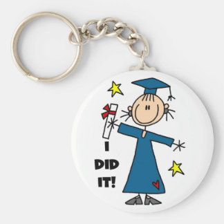 Stick Figure Girl Graduate T-shirts and Gifts Keychain