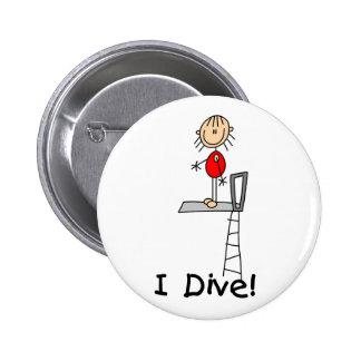 Stick Figure Girl I Dive 2 Inch Round Button