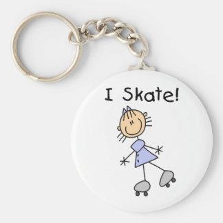 Stick Figure Girl I Skate Keychain
