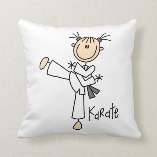 Stick Figure Girl Karate T-shirts and Gifts Throw Pillow