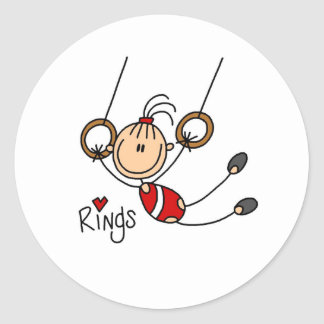 Stick figure girl on Rings Stickers