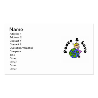 Stick Figure Girl Peace and Love T-shirts and Gift Business Cards