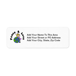 Stick Figure Girl Peace and Love T-shirts and Gift Return Address Label