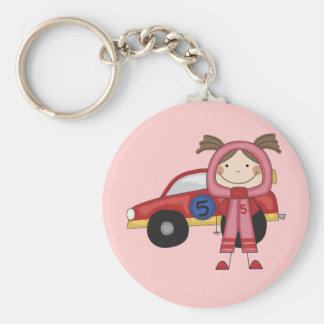 Stick  Figure Girl Race Car Driver Tshirts Keychain