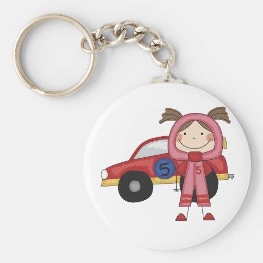 Stick  Figure Girl Race Car Driver Tshirts Keychains