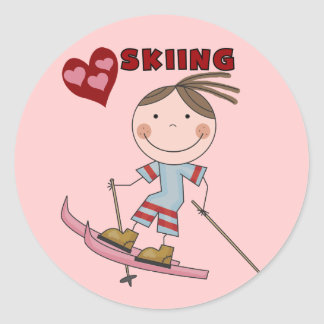 Stick Figure Girl Skier Tshirts and Gifts Round Stickers
