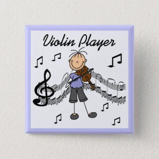Stick Figure Girl Violin Player T-shirts and Gifts 2 Inch Square Button