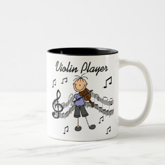 Stick Figure Girl Violin Player T-shirts and Gifts Two-Tone Coffee Mug
