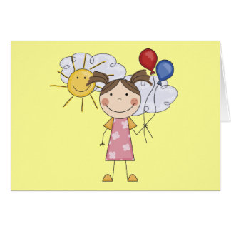 Stick Figure Girl with Balloons T-shirts and Gifts Card