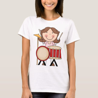 Stick Figure Girl With Drums T-Shirt
