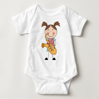 Stick Figure Girl With Saxophone Baby Bodysuit