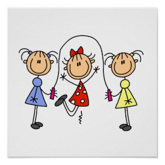 Stick Figure GIrls Jumping Rope Poster