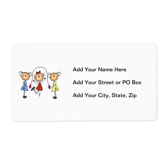 Stick Figure GIrls Jumping Rope Shipping Label